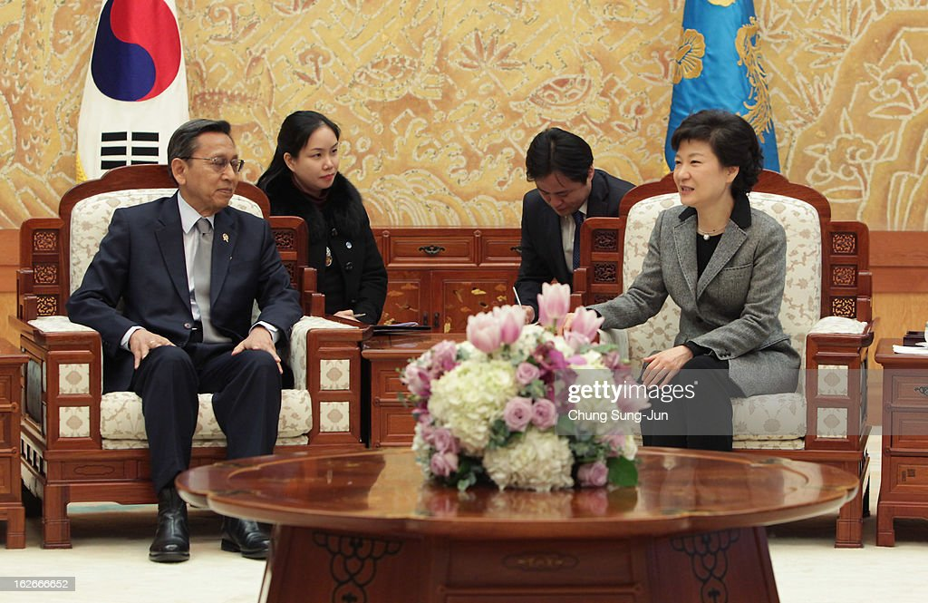 South Korean President Park Geun-Hye talks with Boediono, Vice President of Indonesia during their meeting at presidential house on February 26, 2013 in Seoul, South Korea. Park Geun-Hye, daughter of former president Park Chung-Hee, the first female president of South Korea. Park engaged in a flurry of diplomacy on her second day in office, holding meetings with World leaders.