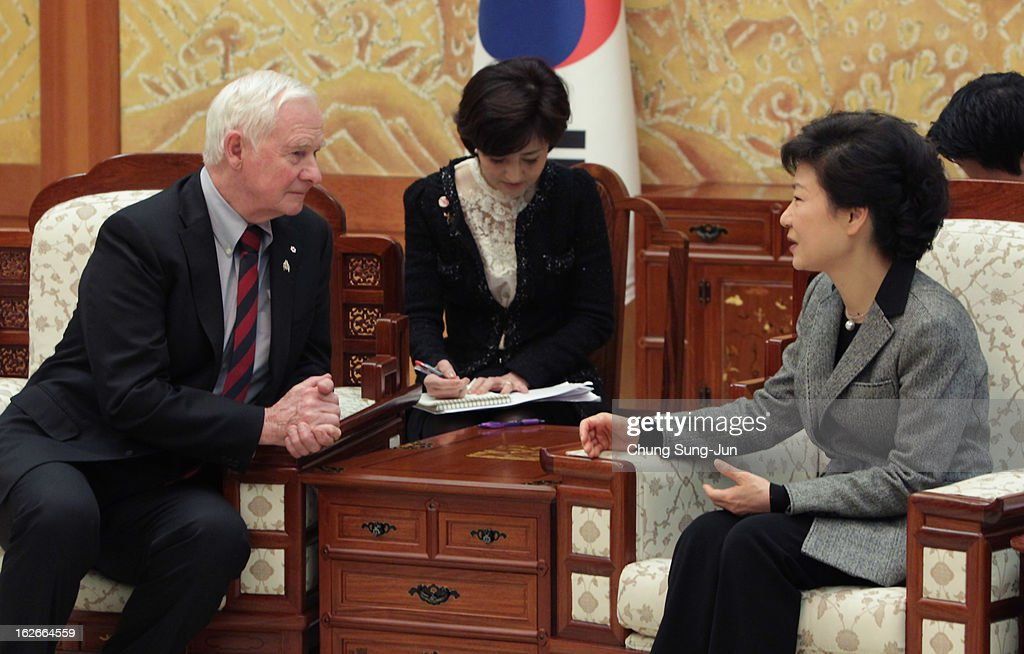 South Korean President Park Geun-Hye talks with David Johnston, the governor of Canada during their meeting at presidential house on February 26, 2013 in Seoul, South Korea. Park Geun-Hye, daughter of former president Park Chung-Hee, is the first female president of South Korea. Park engaged in a flurry of diplomacy on her second day in office, holding meetings with World leaders.