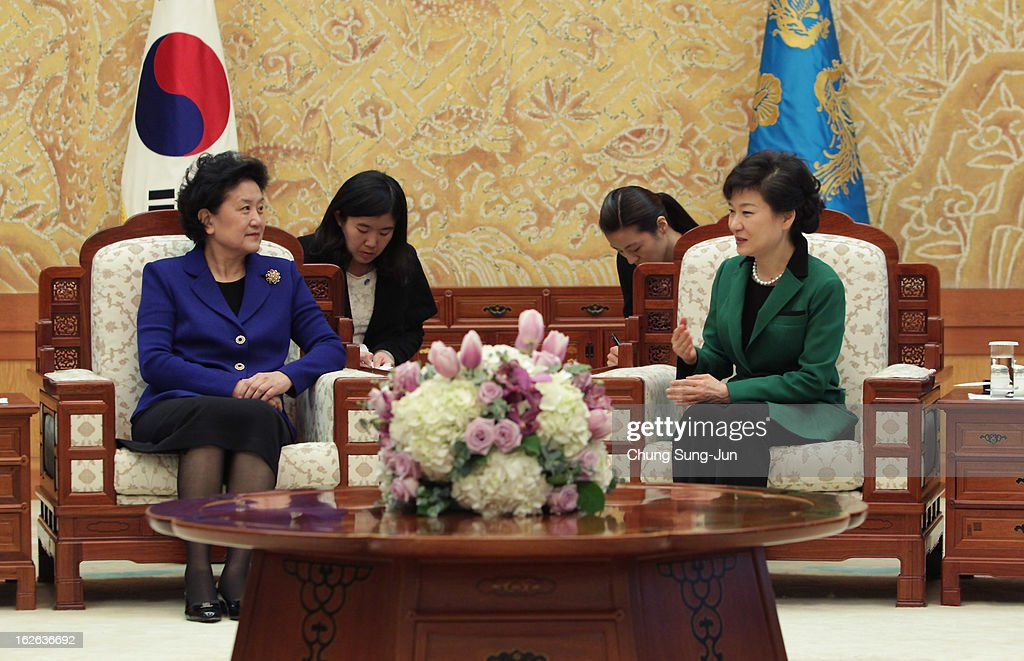 South Korean President Park Geun-Hye (R) talks with Liu Yandong, official of the Communist Party of China, after her inauguration ceremony at presidential house on February 25, 2013 in Seoul, South Korea. Park, the daughter of former Republic of Korea Army general and dictator from 1961 to 1979 Park Chung-hee, was today sworn in as the first female president of South Korea.