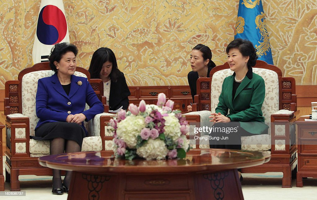 South Korean President Park Geun-Hye (R) talks with Liu Yandong, official of the Communist Party of China,, after her inauguration ceremony at presidential house on February 25, 2013 in Seoul, South Korea. Park, the daughter of former Republic of Korea Army general and dictator from 1961 to 1979 Park Chung-hee, was today sworn in as the first female president of South Korea.