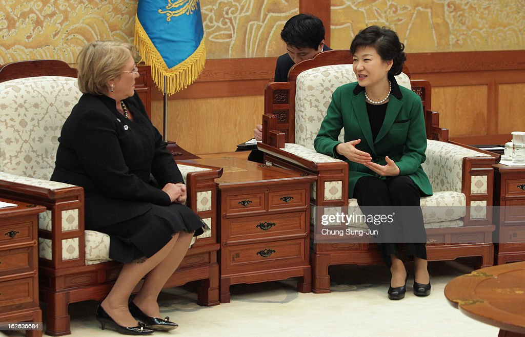 South Korean President Park Geun-Hye (R) talks with Michelle Bachelet Jeria, former President of Chile, after her inauguration ceremony at presidential house on February 25, 2013 in Seoul, South Korea. Park, the daughter of former Republic of Korea Army general and dictator from 1961 to 1979 Park Chung-hee, was today sworn in as the first female president of South Korea.