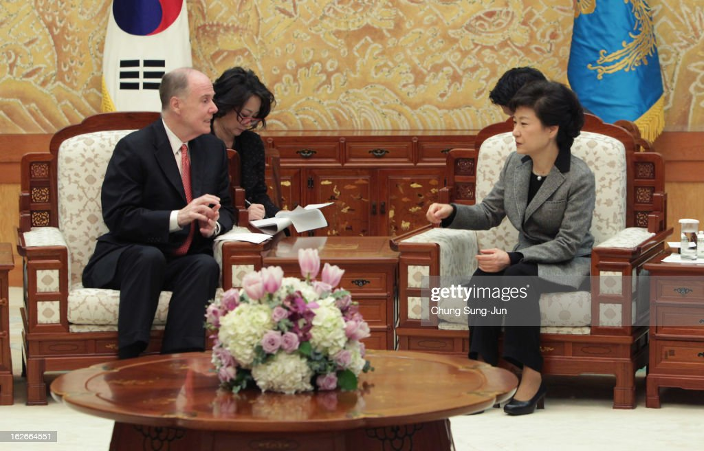 South Korean President Park Geun-Hye talks with Thomas Donilon, National Security advisor of United States during their meeting at presidential house on February 26, 2013 in Seoul, South Korea. Park Geun-Hye, daughter of former president Park Chung-Hee, is the first female president of South Korea. Park engaged in a flurry of diplomacy on her second day in office, holding meetings with World leaders.