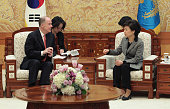 South Korean President Park GeunHye talks with Thomas Donilon National Security advisor of United States during their meeting at presidential house...