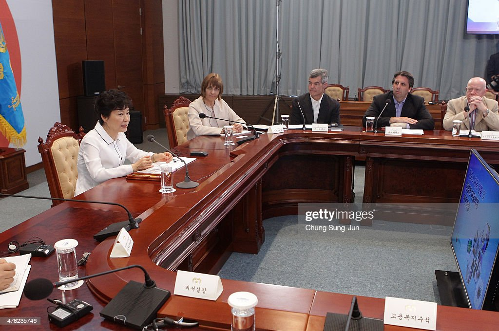 South Korean President Park Geun-Hye talks with WHO director Sylvie Briand, Stephen Redd, Director of Office of Public Health Preparedness and Pesponse of CDC, U.S. ambassador to South Korea <a gi-track='captionPersonalityLinkClicked' href=/galleries/search?phrase=Mark+Lippert&family=editorial&specificpeople=5797334 ng-click='$event.stopPropagation()'>Mark Lippert</a> and Brian McCloskey, Public Health England Director during their meeting at presidential blue house on June 24, 2015 in Seoul, South Korea. President <a gi-track='captionPersonalityLinkClicked' href=/galleries/search?phrase=Park+Geun-hye&family=editorial&specificpeople=603075 ng-click='$event.stopPropagation()'>Park Geun-hye</a> met five health experts, from the U.S. Centers for Disease Control and Prevention (CDC) and the World Health Organization (WHO) to discuss plans to overhaul the quarantine system to better cope with new types of contagious diseases.
