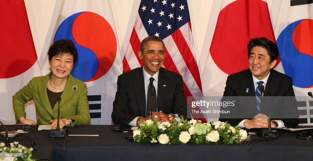 South Korean President Park Geun-hye, U.S. President Barack Obama and Japanese Prime Minister Shinzo Abe attend their trilateral meeting on the sidelines of the Nuclear Security Summit on March 25, 2014 in the Hague, Netherlands. The three-way summit was held at the initiative of Obama out of concern for the sharp slide in relations between Japan and South Korea. The three nations agreed to strengthen their efforts to get Pyongyang to abandon its nuclear weapons and missile development programs.