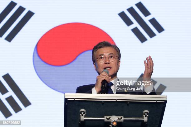 South Korean Presidentelect Moon Jaein of the Democratic Party of Korea speaks to supporters at Gwanghwamun Square on May 9 2017 in Seoul South Korea...