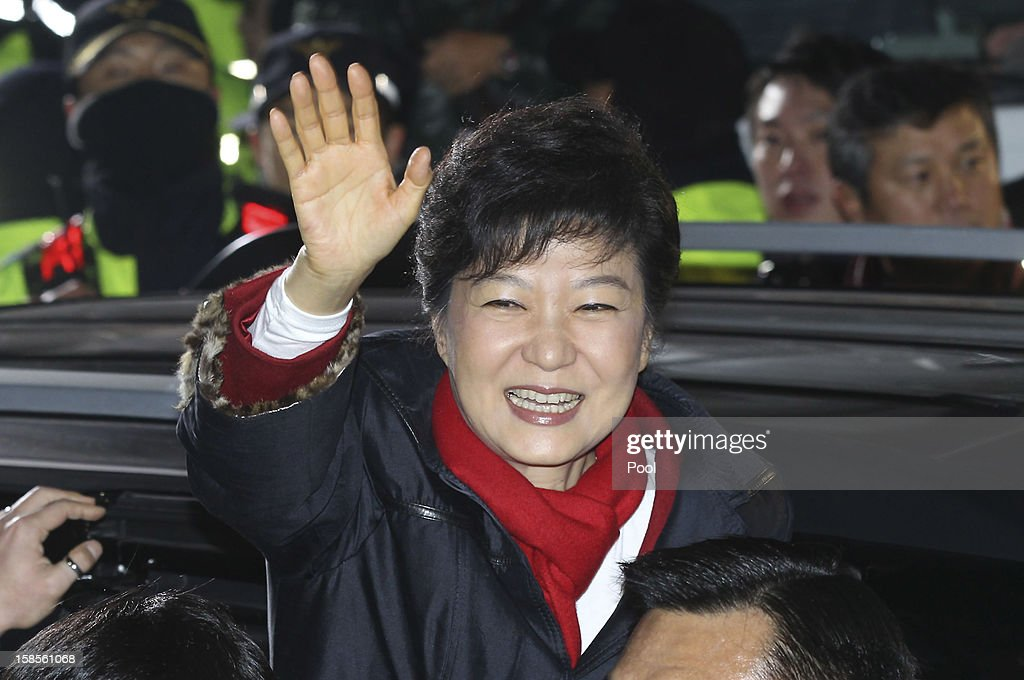 South Korean President-elect Park Geun-Hye, of the Ruling Saenuri Party waves to supporters after she is declared the winner of the presidential elections on December 19, 2012 in Seoul, South Korea. Park, daughter of former president Park Chung-Hee, becomes the first female president of South Korea.