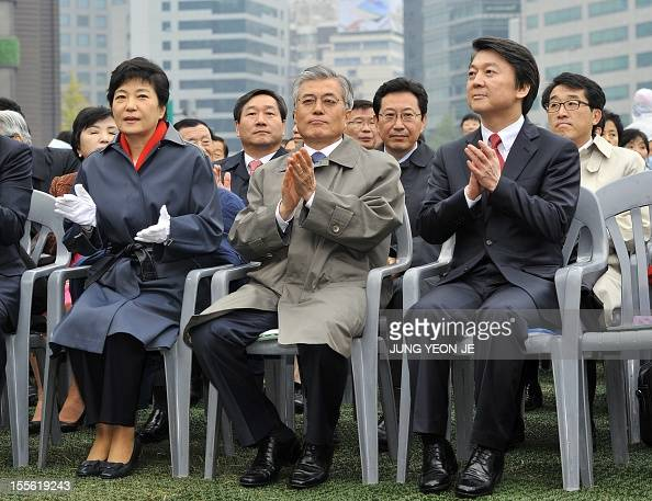 South Korean presidential candidates Park GeunHye of the rulling Saenuri Party Moon JaeIn of the main opposition Democratic United Party and...
