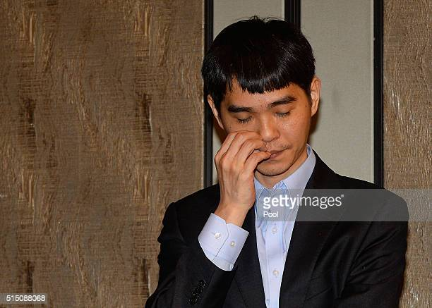 South Korean professional Go player Lee SeDol attends the press conference after match against Google's artificial intelligence program AlphaGo...