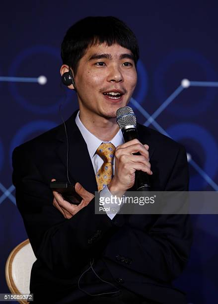 South Korean professional Go player Lee SeDol speaks during a press conference after finishing the final match of the Google DeepMind Challenge Match...