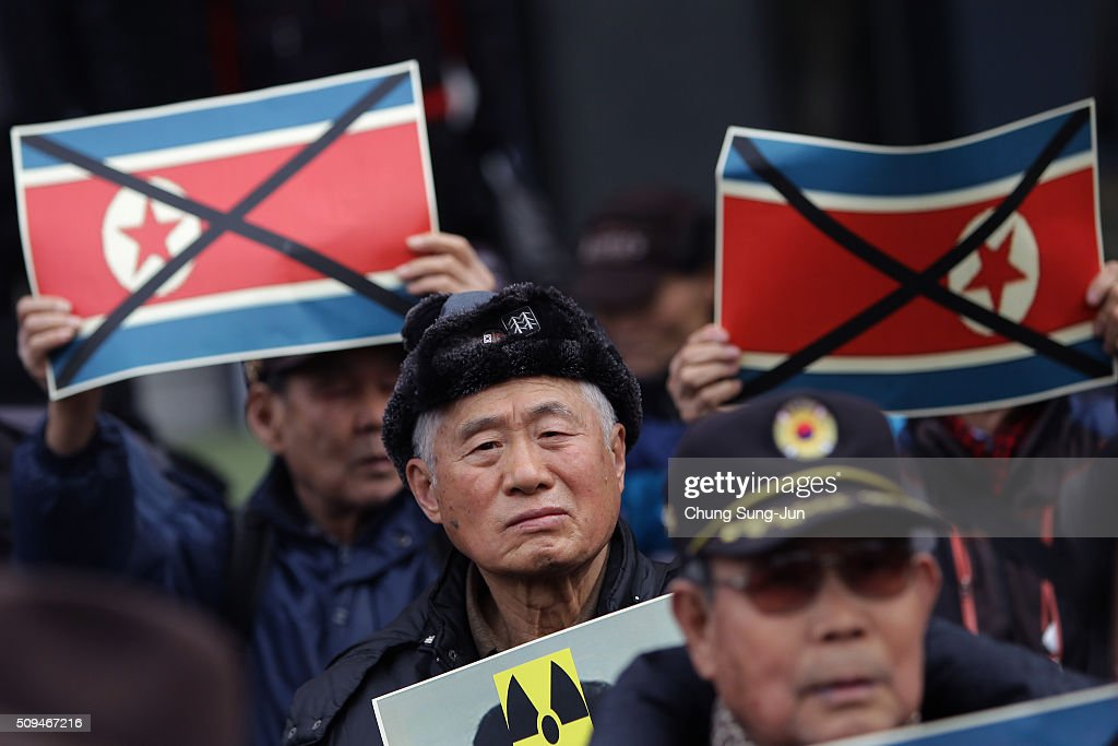 South Korean protesters attend an anti-North Korea rally on February 11, 2016 in Seoul, South Korea. South Korea announced on February 10, 2016 that the country would close an industrial complex jointly ran with North Korea, as the strongest response for North's recent nuclear test and rocket launch.