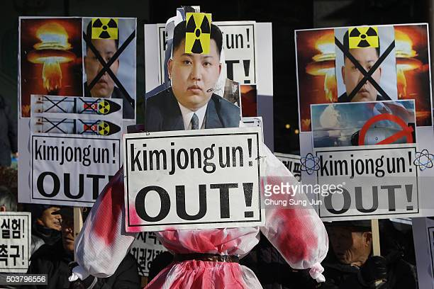 South Korean protesters attend an antiNorth Korea rally on January 7 2016 in Seoul South Korea North Korea announced yesterday that they had...