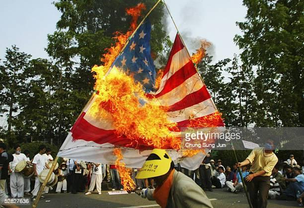 South Korean protesters burn a US flag during an antiAmerican demonstration near a South Korean Air Force base May 15 2005 in Gwangju South Korea The...
