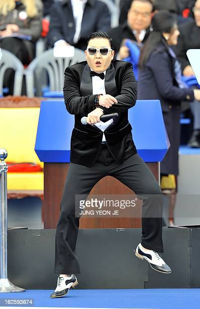 South Korean rapper Park JaeSang also known as 'Psy' dances before the presidential inauguration ceremony for South Korea's incoming president Park...