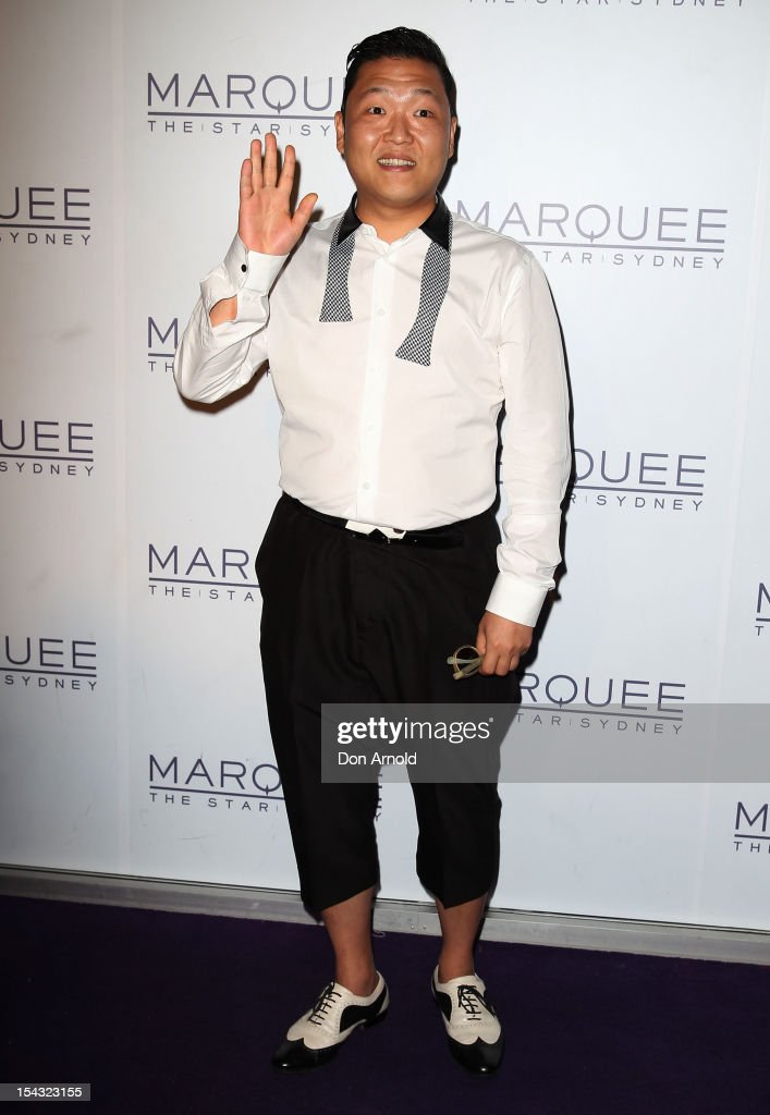 South Korean rapper Psy arrives for his only night club performance during his Sydney visit at Marquee at the Star on October 18, 2012 in Sydney, Australia.