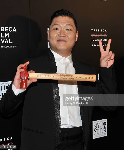 South Korean Rapper Psy attends the Tribeca Disruptive Innovation Awards during the 2013 Tribeca Film Festival at NYU Paulson Auditorium on April 26...