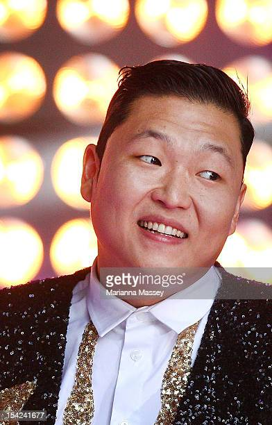 South Korean rapper Psy performs live on Channel 7's 'Sunrise' at Martin Place on October 17 2012 in Sydney Australia