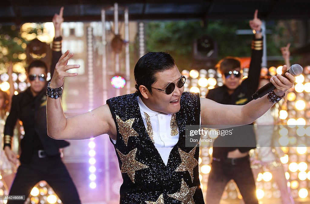 South Korean rapper Psy, performs live on Channel 7's 'Sunrise' at Martin Place on October 17, 2012 in Sydney, Australia.