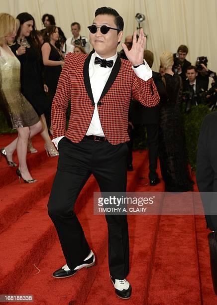 South Korean rapper Psy real name Park Jaesang arrives at the Metropolitan Museum of Art's Costume Institute Gala benefit in honor of the museum's...