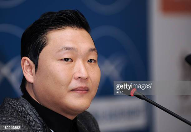 South Korean rapper Psy speaks during a press conference on February 21 at Pera Hotel in Istanbul on the eve of his concert in Istanbul as part of...