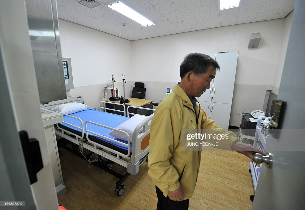 A South Korean resident shows a surgery room in an air-raid shelter at the South Korea-controlled island of Yeonpyeong near the disputed waters of the Yellow Sea on April 12, 2013. South Korea's defence ministry said on April 12 it doubted North Korea had the ability to launch a nuclear-armed ballistic missile as claimed in a report by the US military spy agency.