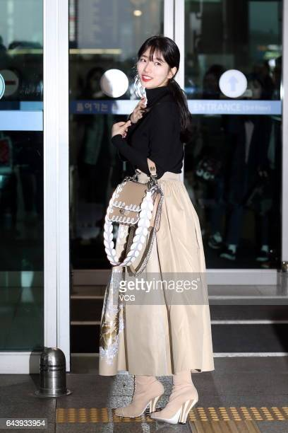 South Korean singer and actress Suzy Bae arrives at Incheon International Airport and sets out for Milan Fashion Week Fall/Winter 2017/18 on February...