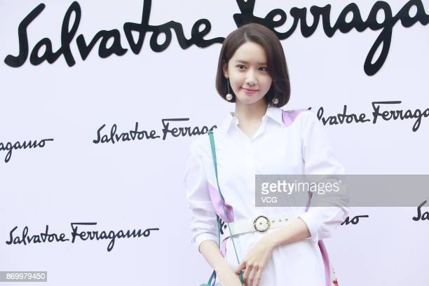 South Korean singer and actress Yoona attends the reopening ceremony of Salvatore Ferragamo's flagship store on November 3 2017 in Hong Kong China