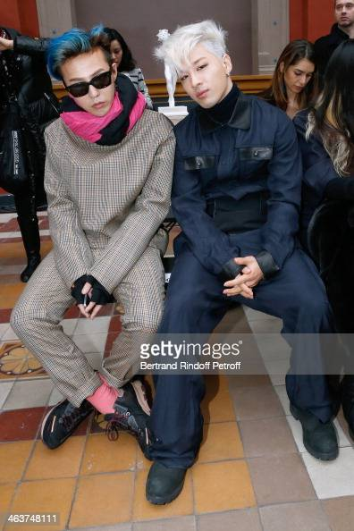 South Korean singer and producer GDragon with South Korean personality Taeyang attend the Lanvin Menswear Fall/Winter 20142015 Show as part of Paris...