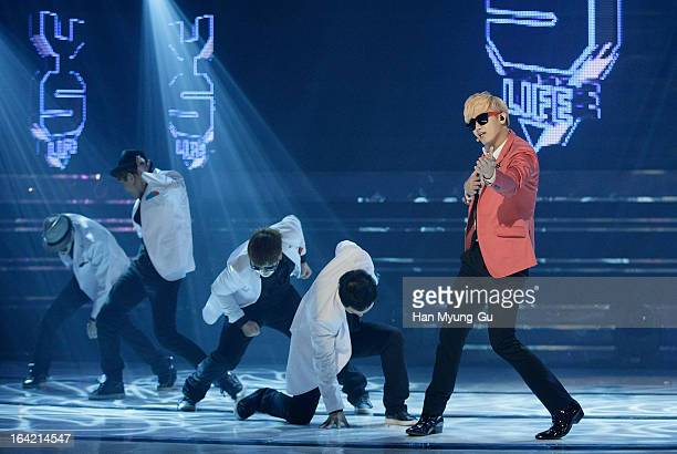 South Korean singer Heo YoungSaeng performs onstage during the MBC Music 'Show Champion' at UniqloAX Hall on March 20 2013 in Seoul South Korea