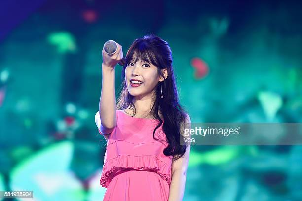 South Korean singer IU Lee Jieun performs onstage during her concert on July 31 2016 in Wuhan Hubei Province of China