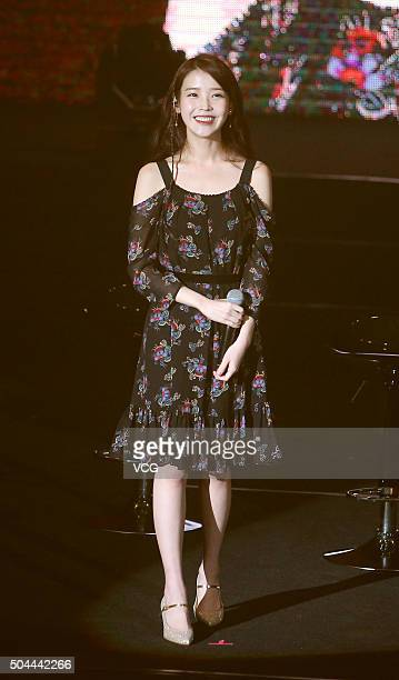 South Korean singer IU performs on the stage in concert at Taipei International Convention Center on January 10 2016 in Taipei Taiwan