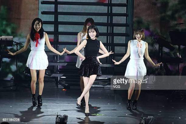 South Korean singer IU performs onstage during her concert '24 Steps' on January 7 2017 in Taipei Taiwan of China