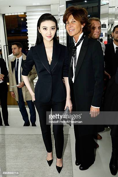 South Korean Singer Ji Yeon and Sylvie Rousseau attend the inauguration cocktail for the opening of Dior Homme Boutique on October 1 2015 in Paris...
