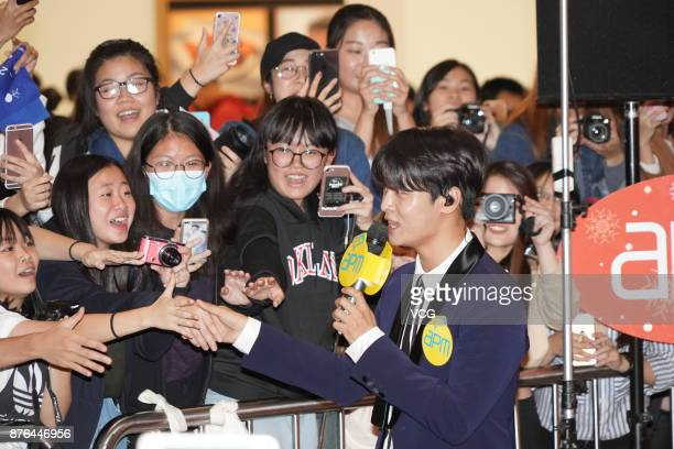 South Korean singer N of boy group VIXX attends a Christmas activity of a shopping mall on November 19 2017 in Hong Kong China