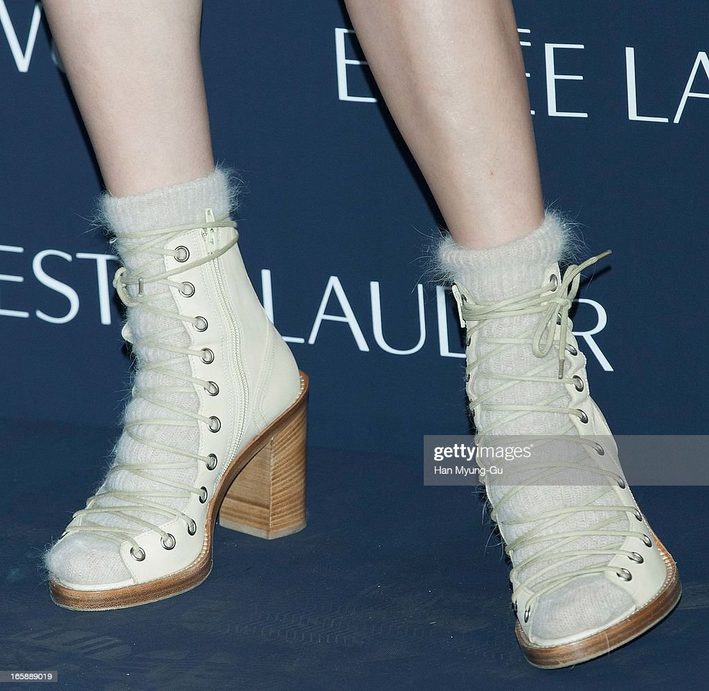 South Korean singer Oak Joo-Hyun (shoe detail) attends the 'Estee Lauder' Double Wear Lounge opening at Coffee Smith on April 5, 2013 in Seoul, South Korea.