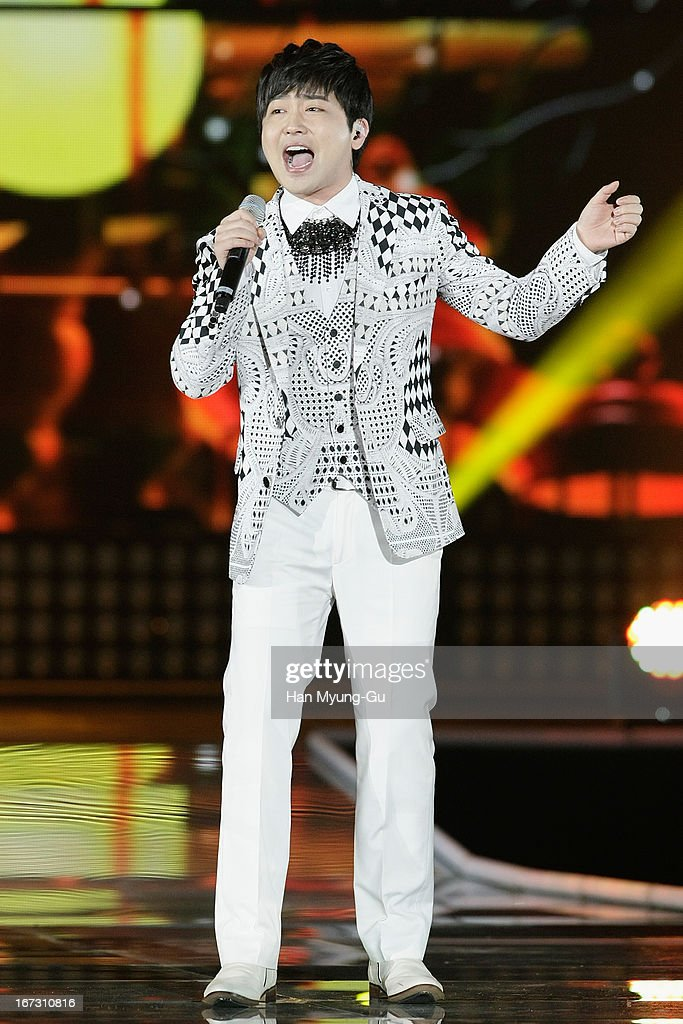 South Korean singer Park Hyun-Bin performs onstage during day two of the K-Pop Collection at Olympic Gymnasium on April 21, 2013 in Seoul, South Korea.