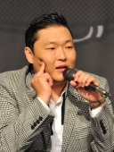 South Korean singer Park JaeSang also known as Psy speaks during a press conference after returning from a US trip in Seoul on September 25 2012 The...
