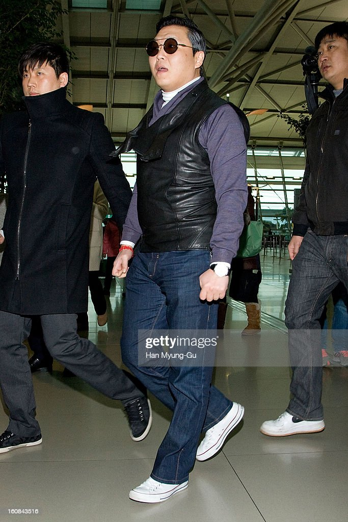 South Korean singer Psy is seen on departure at Incheon International Airport on February 5, 2013 in Incheon, South Korea.