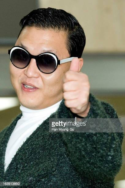South Korean singer Psy is seen upon arrival at Gimpo International Airport on March 17 2013 in Seoul South Korea