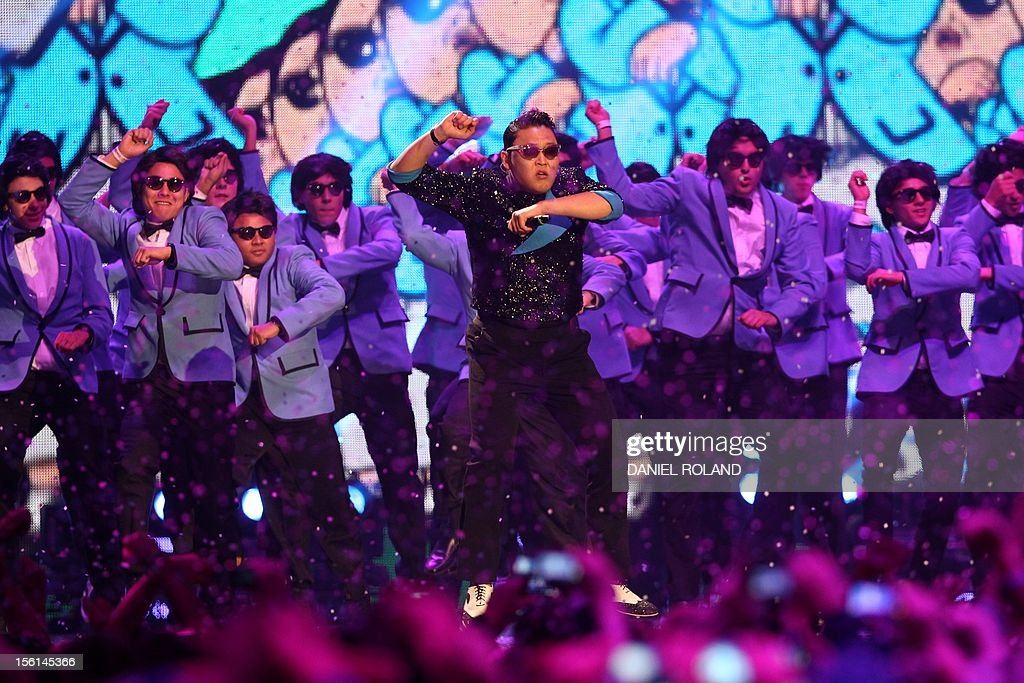 South Korean singer Psy performs during the 2012 MTV European Music Awards (EMA) at the Festhalle in Frankfurt am Main, central Germany on November 11, 2012.
