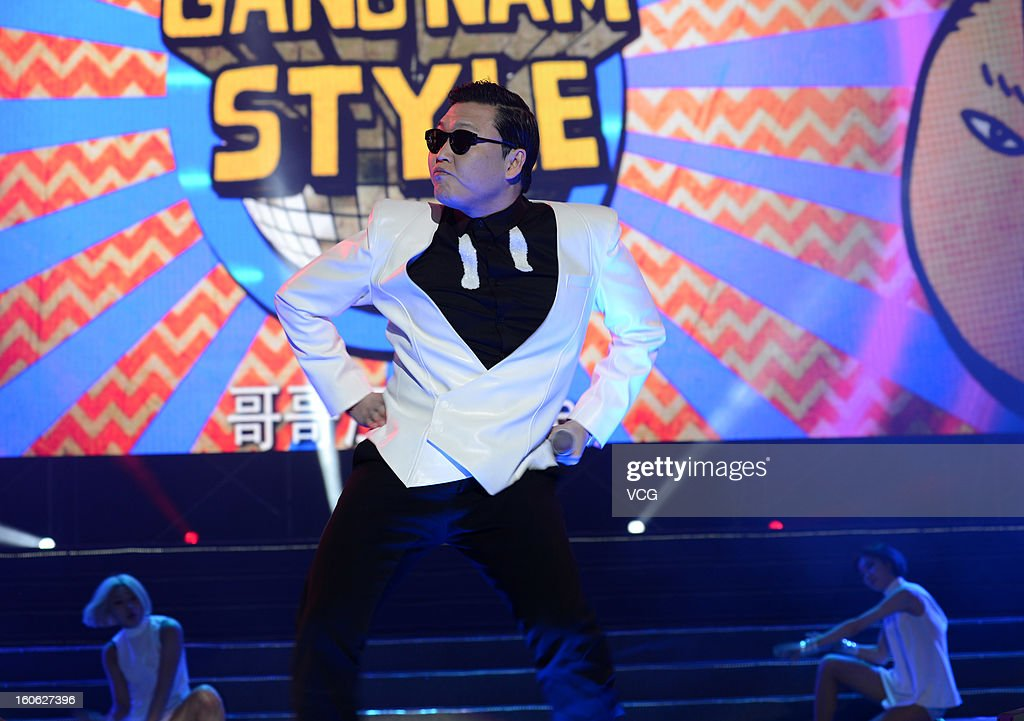 South Korean singer <a gi-track='captionPersonalityLinkClicked' href=/galleries/search?phrase=Psy+-+Entertainer&family=editorial&specificpeople=9699998 ng-click='$event.stopPropagation()'>Psy</a> performs on stage during the Lunar Chinese New Year filming at Nanjing Olympic Sports Center on February 2, 2013 in Nanjing, Jiangsu Province of China.