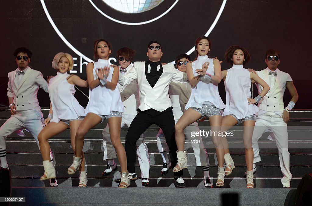 South Korean singer Psy performs on stage during the Lunar Chinese New Year filming at Nanjing Olympic Sports Center on February 2, 2013 in Nanjing, Jiangsu Province of China.