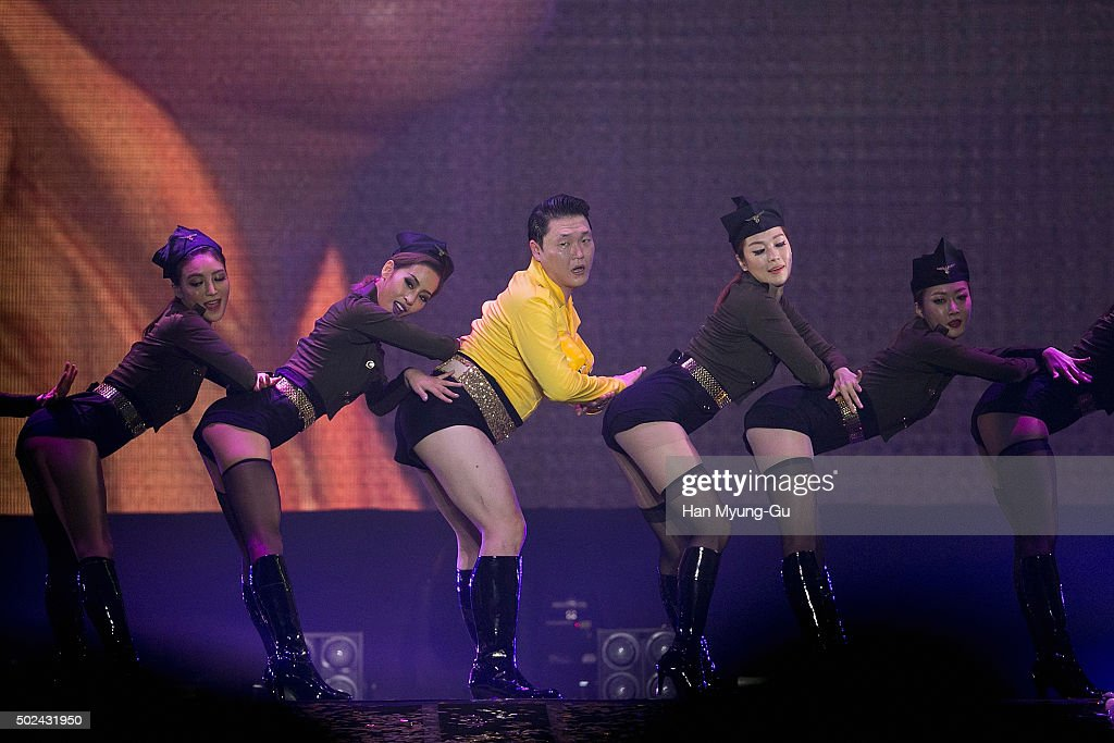 South Korean singer PSY performs onstage during the 'All Night Stand 2015' on December 24, 2015 in Seoul, South Korea.