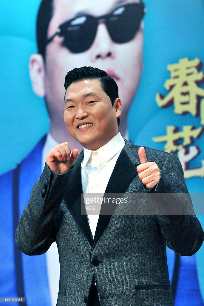 South Korean singer PSY poses as he attends Oriental Satellite TV Lunar New Year Gala filming on January 31, 2013 in Shanghai, China.