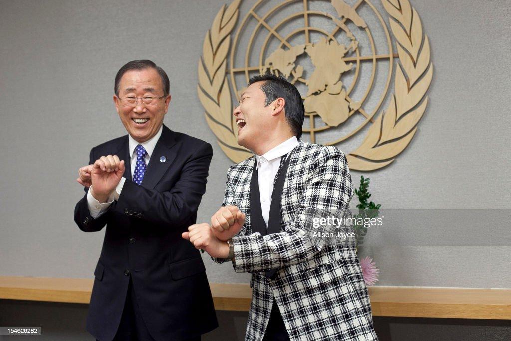 South Korean singer Psy (R), whose real name is Park Jae-sang, visits UN Secretary General Ban Ki-moon at the United Nations on October 23, 2012 in New York City.