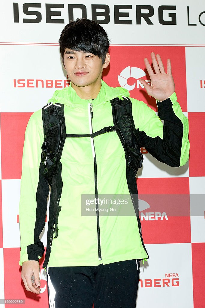 South Korean singer <a gi-track='captionPersonalityLinkClicked' href=/galleries/search?phrase=Seo+In-Guk&family=editorial&specificpeople=7774033 ng-click='$event.stopPropagation()'>Seo In-Guk</a> attends a promotional event for the NEPA History Show 2013 'ISENBERG' Launching Show at COEX on January 22, 2013 in Seoul, South Korea.