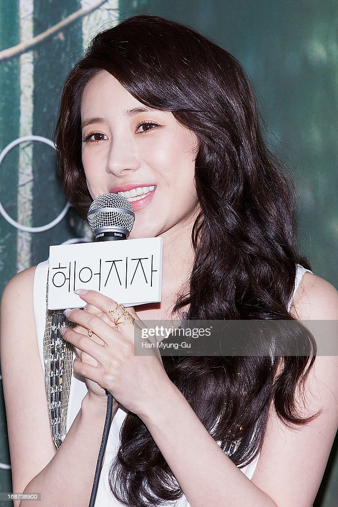 South Korean singer Seo In-Young talks to media during after her mini album 'Forever Young' Showcase on May 14, 2013 in Seoul, South Korea.