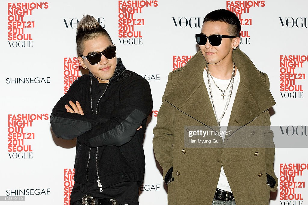 South Korean singer Taeyang and GDragon of Big Bang arrive for the 'VOGUE' The Fashion's Night Out at the Shinsegye department store on September 21...