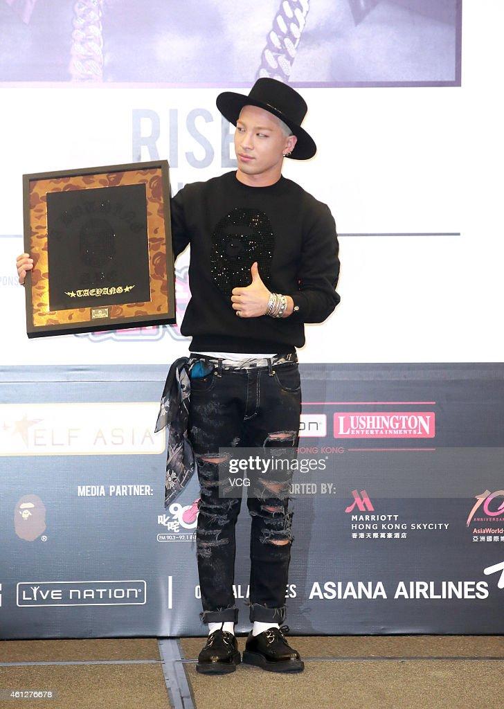 South Korean singer Taeyang of Bigbang attends a press conference to promote his concert on January 9 2015 in Hong Kong Hong Kong
