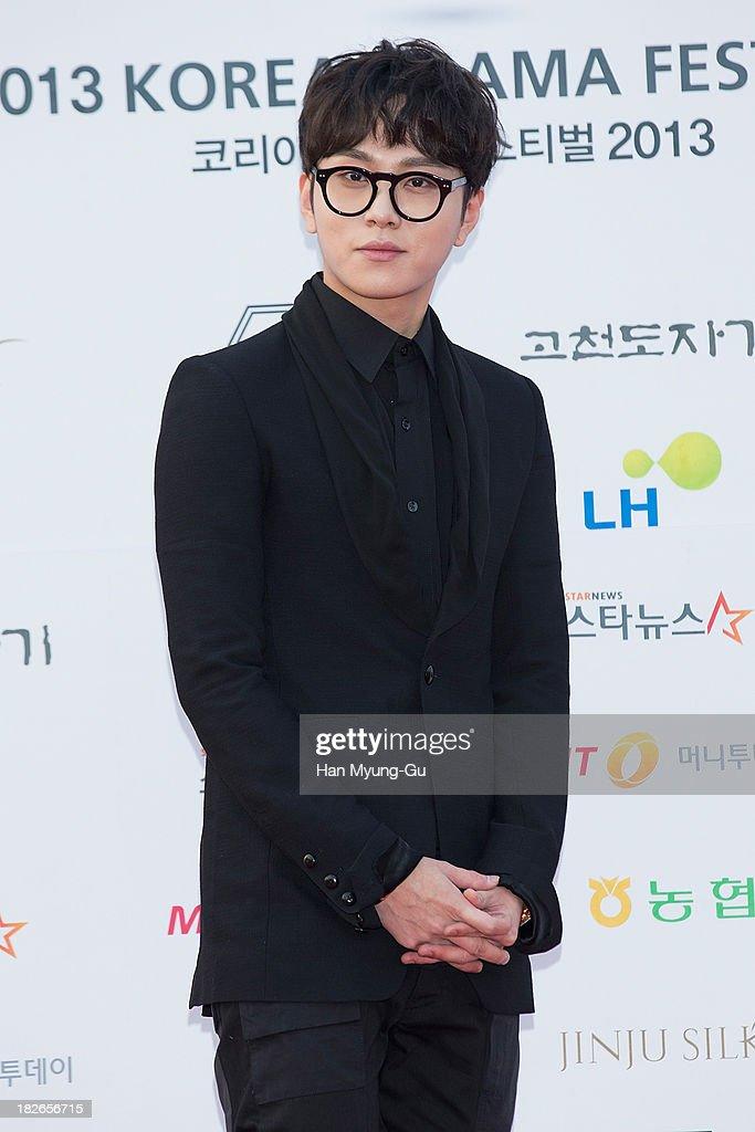South Korean singer Yong JunHyung of boy band beast arrives for photographs at 2013 Korea Drama Awards at Jinju Arena on October 02 2013 in Jinju...